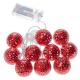 Linder Exclusiv karácsonyi LED világítás 10 piros gömb - meleg fehér