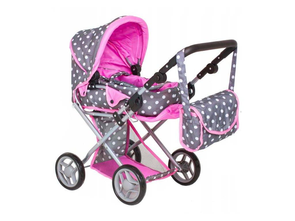 Doris Kočárek pro panenky 9346 Grey Dots & Pink