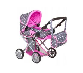 Doris Kočárek pro panenky 9346 Šedo - Růžový s puntíky