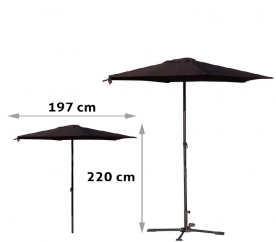 Aga Slunečník UMBRELLA HD-030DB 200 cm Brown