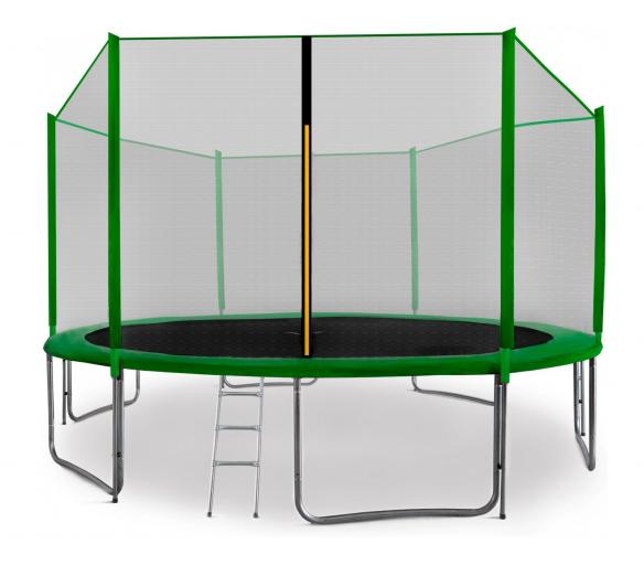 Aga SPORT PRO Trampolína 430 cm Dark Green + ochranná sieť + schodíky + vrecko na obuv